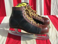 Vintage Mens 2-Tone Leather Ice Hockey Skates Mid-Height Sz.8 Great Shape!