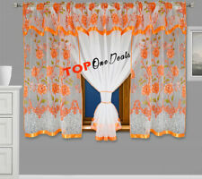 Lovely Voile Net Curtains with Flowers Ready Made Living Dining Room Bedroom New