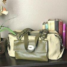 Fino Leatherwear Travel Duffel Bag Satchel Vintage Green Ivory Leather Canvas