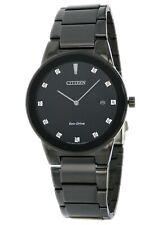 Citizen Eco-Drive Men's Diamond Markers Black Bracelet 40mm Watch AU1065-58G