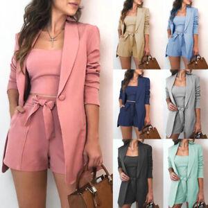 Fashion Women Shorts Blazer 3pcs/Set Crop Top Shorts Jacket Casual Office Wear