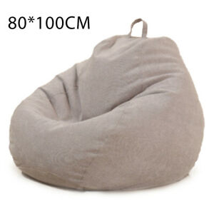 Bean Bag Chair Couch Cover Cotton Linen Sofa Lazy Lounger Storage Cloth Bag Home