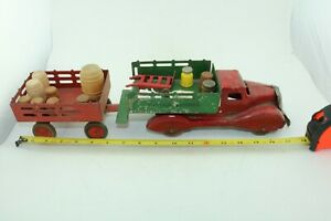 Marx Baggage Express Delivery Truck & Trailer w/load pressed steel USA 1940s