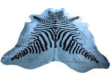 Kuhfell Rinderfell Stierfell Hellblau mit Zebra Druck - ca. 235cm x 205cm
