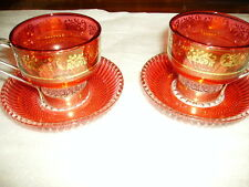 Cranberry coloured with gold detail small cups and saucers Made in Italy x 2