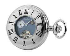Chrome Plated Woodford Skeleton Half Hunter Pocket Watch 1024