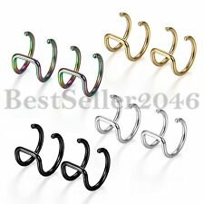Stainless Steel Non-piercing Ear Fake Nose Clip on Cartilage Cuff Earrings 8Pcs
