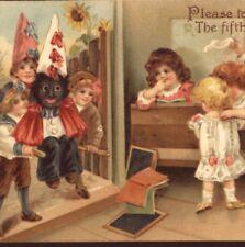 RARE..! SCHOOL BOYS CARRY BLACK DUNCE CHILD,ELLEN ANDREWS,FAWKES,TUCK POSTCARD
