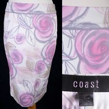 Coast Floral Pink White Skirt 10 Pencil Midi Slit Smart Casual Work Formal Lined