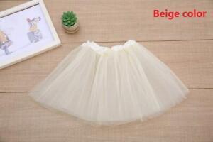Toddler Kid Solid Color Tutu Skirt Ballet Dress Girls 3 Layer Petticoat