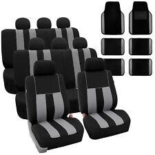 Gray Black 3Row SUV Split bench Car Seat Covers Car Auto with Carpet Floor Mats