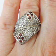 Red Garnet Sterling Silver Cocktail Ring size 8 / P Handmade Statement 925 Large