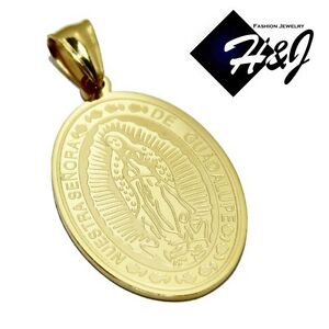 """MEN's Stainless Steel Gold Virgin Mary Our Lady Of Guadalupe Pendant*1.4""""x0.9"""""""