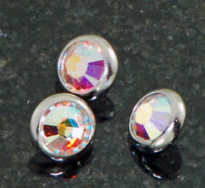 3 Pc 14g 4mm Aurora Borealis CZ  Dome Surgical Steel Dermal Anchor Top Heads