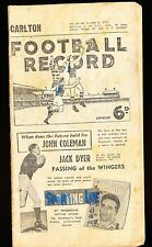 1955 Football Record Carlton vs Essendon June 11 Footy