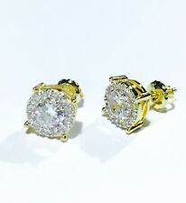 Mens Ladies Lab Created Diamond 14K Gold Filled Canary Screw Back Stud Earrings
