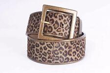 St. John Size Petite Leopard Print Dyed Calf Hair Brown Leather Belt 864 AC317
