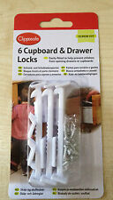 Clippasafe Cupboard Drawer Lock Secure Catches 6Pack Safety Baby Child Proofing#