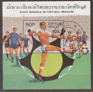 Stamps Briefmarken Laos Block Fußball o