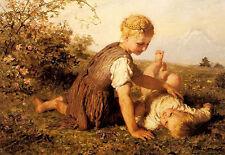 Oil painting karl wilhelm friedrich bauerle - an autumn idyll big sister girls