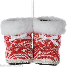 10 Cm Fiesta de Navidad Furry Rojo & Blanco Knitted Botas Hanging Tree Decoraciones
