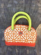 NWOT SPARTINA Daufuskie island White/Orange Canvas/Leather Trim Cosmetic Bag