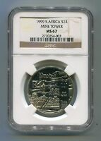 South Africa MS67 Unc 1999 Silver R1 Protea Mine Tower Coin Limited Edition NGC