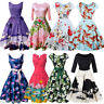 1950s Vintage Rockabilly Homecoming Dress Floral Swan Retro Gown Formal Evening
