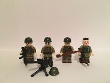 WW2 US 4Pc Army Soldier Minifigures + Weapons Set Fits Lego Block Kids Toys UK