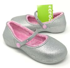 Crocs Girls Karin Sparkle Lined Mary Jane Clog girls Size J3 Silver NEW W/ Tags