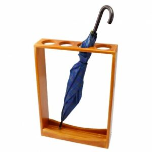 Handmade Solid Wood Umbrella Stand Walking Cane Holder Hallway Storage Wooden