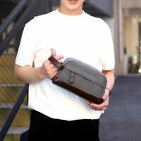 Men Canvas Clutch Bag Business Small Handbag Phone Purse Casual Canvas Wrist Bag