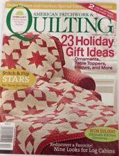 Better Homes Quilt Magazine December 2011 Stitch Flip Stars Log Cabins Pillows