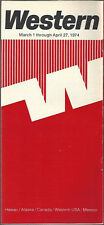 Western Airlines system timetable 3/1/74 [6031] (Buy 3+ Save 25%)
