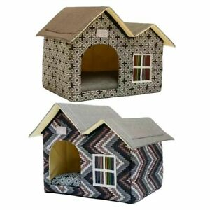 Dog House Double Roof Pet Villa Cat House Waterproof Pet House Kitten Shelter