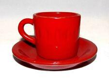 Vtg Upsala Ekeby Sweden pottery Red espresso Cup Saucer