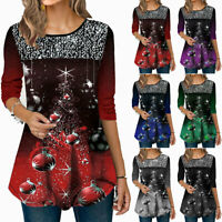 Women Long Sleeve Xmas Christmas T-Shirt Casual Tunic Loose Pullover Blouse Tops