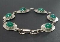 Vintage GREEN ONYX SCARAB BRACELET Egyptian Revival Jewelry