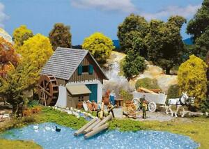 Faller HO Scale Building/Structure Kit Small Mill with Water Wheel/Accessories