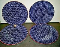 4 PIERS BLUE BY BETTER HOMES AND GARDENS DINNER PLATES  10 5/8''