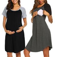 Women Mom Maternity Pregnancy Splice Nursing Short Sleeve Short Dress Sleepwear