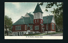 Atlantic Iowa IA 1909 Old Brick M E Church on side hill, Hand Tinted Style PC  )