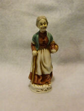 """Vintage Old Ceramic 6"""" Tall Lady Figurine With Basket & Walking Cane"""