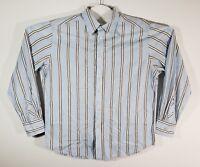 ROBERT GRAHAM Blue Striped Embroidered Paisley Flip Cuff Long Sleeve Shirt XL