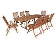Gartengarnitur Sitzgruppe Gartenmöbel Garnitur LAGO 9-teilig, Eukalyptus Holz