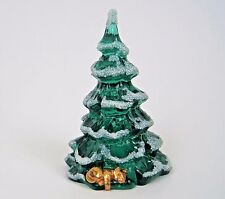 Vtg Fenton Art Glass Christmas Tree Green Gold Cat at Bottom Frosted Figurine