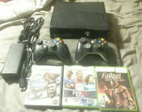 Microsoft Xbox 360 S 4GB Tested Fully Functional W 3 Games and 2 controllers