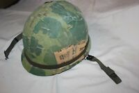 US Military Issue Vietnam Era M1 STEEL HELMET with Camouflage Mitchell Cover T13