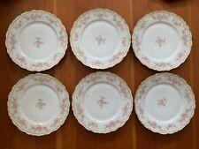 Limoges Elite Dinner Plate, Gold Rimmed, Scalloped Edges, BWD4 Pattern- SET OF 6