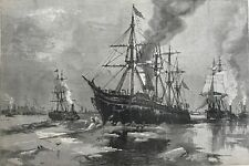 Ice Blockade. Shipping Stuck In Rivers And Bay. New York  Wood Engraving, 1881.